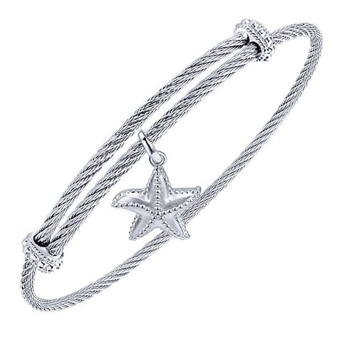 Silver/SS & Starfish Charm Bangle