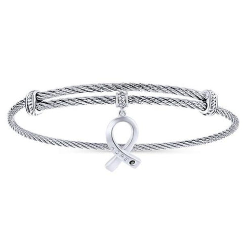 Silver/SS Breast Cancer Ribbon & Black Spinel Bangle