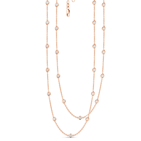 24 Station Classic Bezel Set Chain Necklace, 3.20ctw