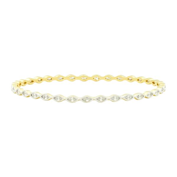 Marquise Cut Stone Slide-On Round Bangle | Platinum & 14K Gold on Sterling Silver