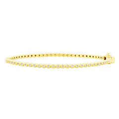 Signature Bezel Set Hinge Bangle | 14K Gold on Sterling Silver
