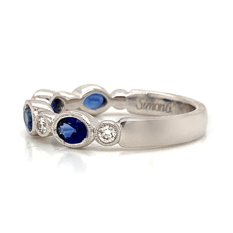 Blue Sapphire & Diamond Oval Milgrain Bezel Set Band