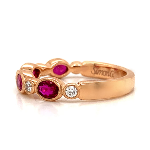 Ruby & Diamond Oval Milgrain Bezel Set Band