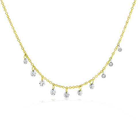 Yellow Drilled & Bezel Set Diamond Necklace