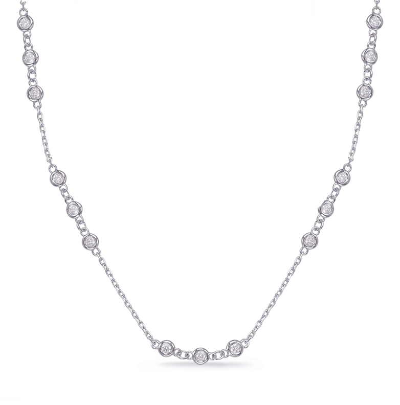 Triple Station Bezel Set Chain Necklace, 1.80ctw