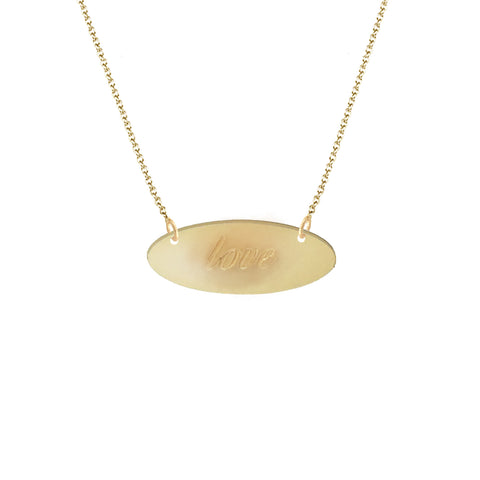 """Love"" Script Brushed Finish East to West Oval Disc Pendant"