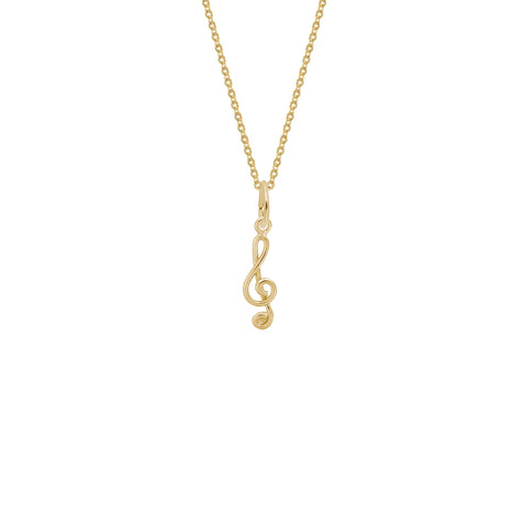 Plain Mini Treble Clef Gold Charm