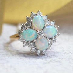 White and Yellow Gold 4 Stone Opal & Diamond Halo Ring