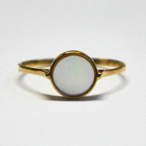 Yellow Mother of Pearl Round Ring