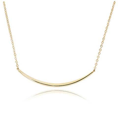 Yellow Half Curved Bar Necklace