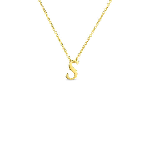 "Yellow Initial Tiny Treasure ""S"" Pendant"