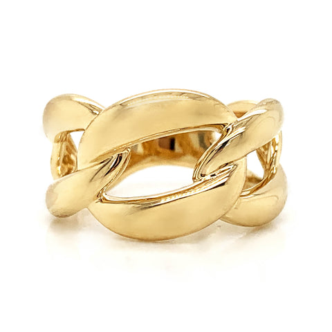 Large Open Link Plain Gold Band