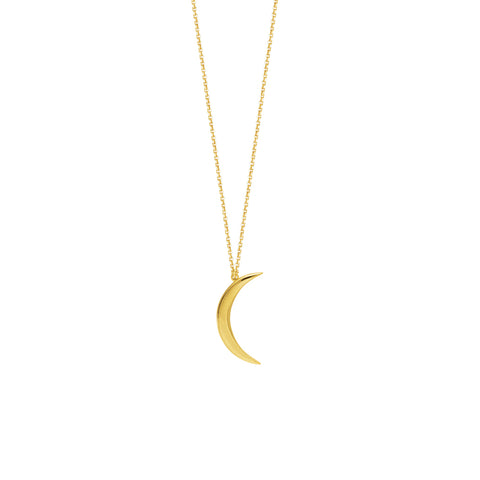 Simple Moon Polish Gold Pendant