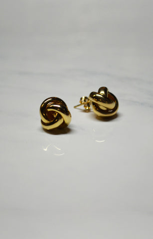 Yellow Gold Love Knot Stud Earrings