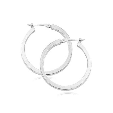 White Square Tube Hoop Earrings