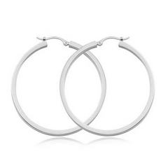 2mm Square Tube Hoop Earrings