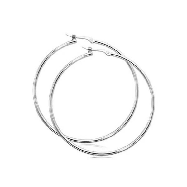 1.5mm Classic Tube Plain Hoop Earrings