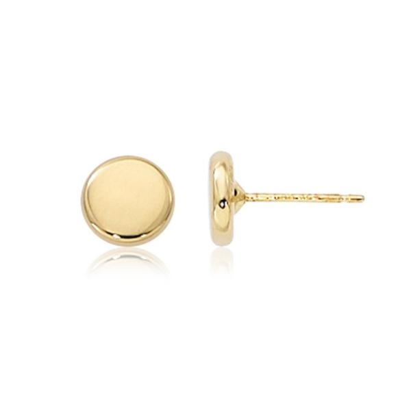 Yellow Polished Round Stud Earrings