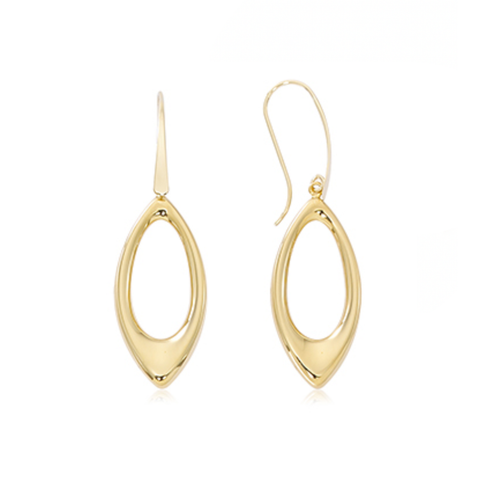 Medium Marquise Shape Open Plain Drop Earrings
