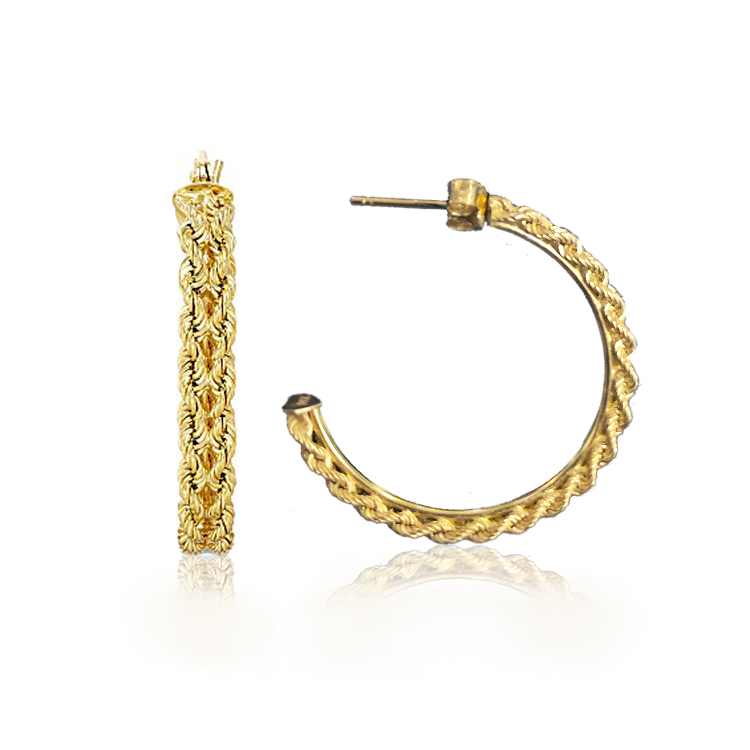 28mm Gold Braided Hoop Earrings
