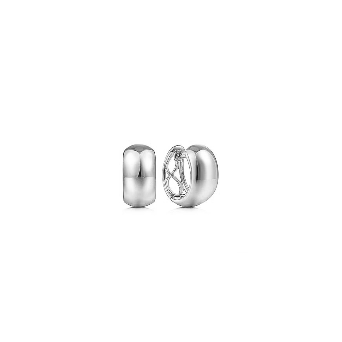 Mini Wide Plain Huggie Hoop Earrings