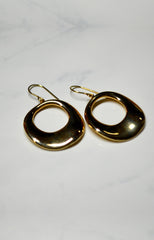 Yellow Gold Large Open Circle Drop Earrings