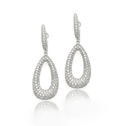 18K Open Tear Drop Dome Micro Pave Diamond Dangle Earrings