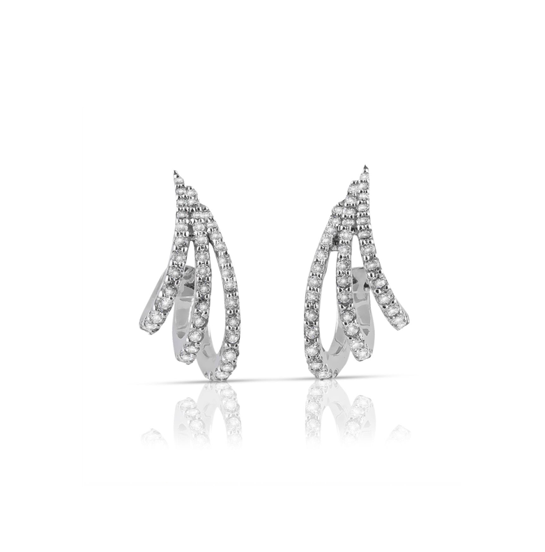3 Row Open Diamond Pave Tapered Fan Earrings