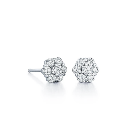 Medium Floral Cluster Diamond Prong Set Stud Earrings, .75ctw