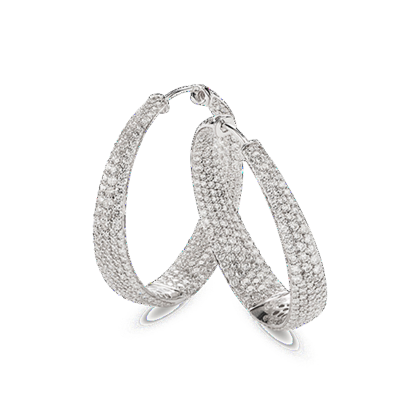 Scalare White Hoop Earrings with Diamonds