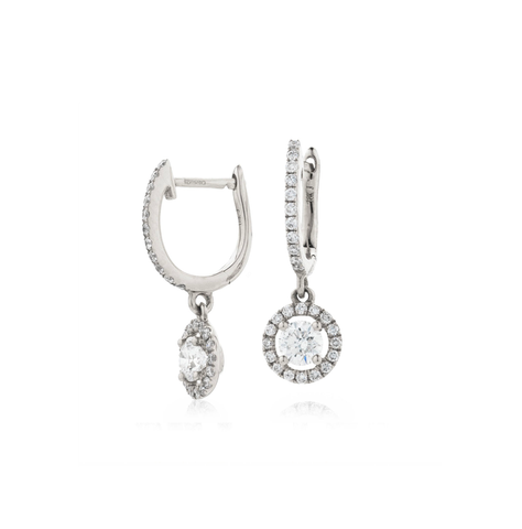 Simple Round Halo Diamond Pave Drop Earrings