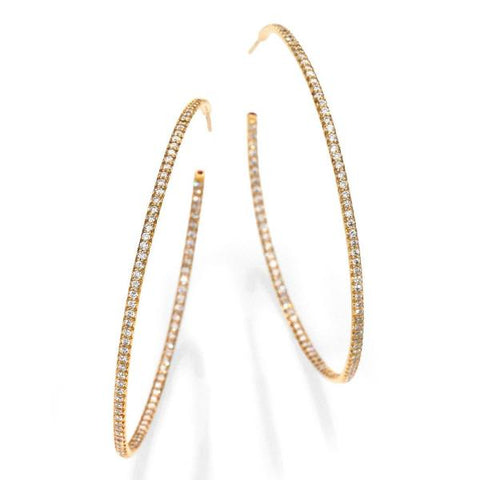 XX-Large Rose Gold Inside Outside Diamond Hoop Earrings
