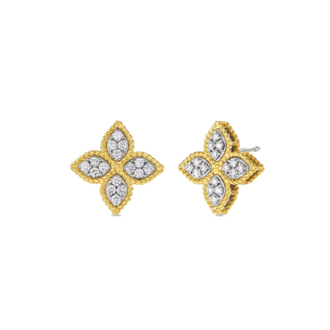 Princess Flower Medium Stud Yellow Earrings with Diamonds