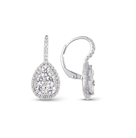 Pear Illusion Diamond Halo Pave Drop Earrings