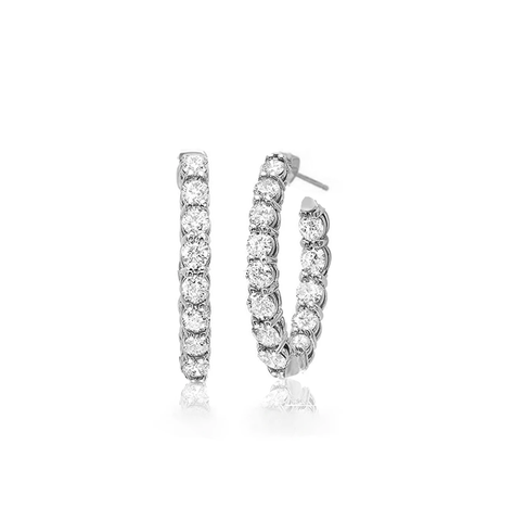 Small 2.75ctw Classic Inside Outside 3/4 Oval Diamond Hoop