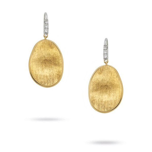 Lunaria Yellow Gold & Diamond Pave Small French Wire Earrings