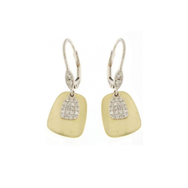 Yellow and White Cushion Dangle Freeflow Earrings with Diamond Stations