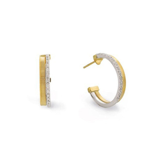 Masai Yellow Gold Two Row Pave Diamond Hoop Earrings