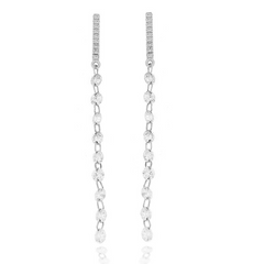 White Long Dangle Diamond Bezel & Pave Dangle Earrings