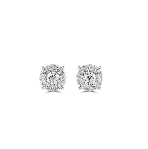 Round Cluster Diamond Stud Earrings, .98ctw
