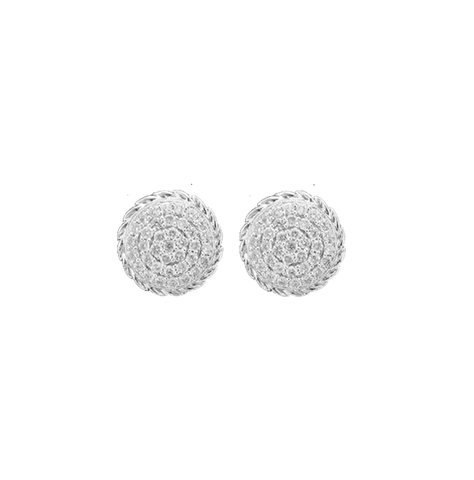 Round Diamond Pave Rope Edge Stud Earrings
