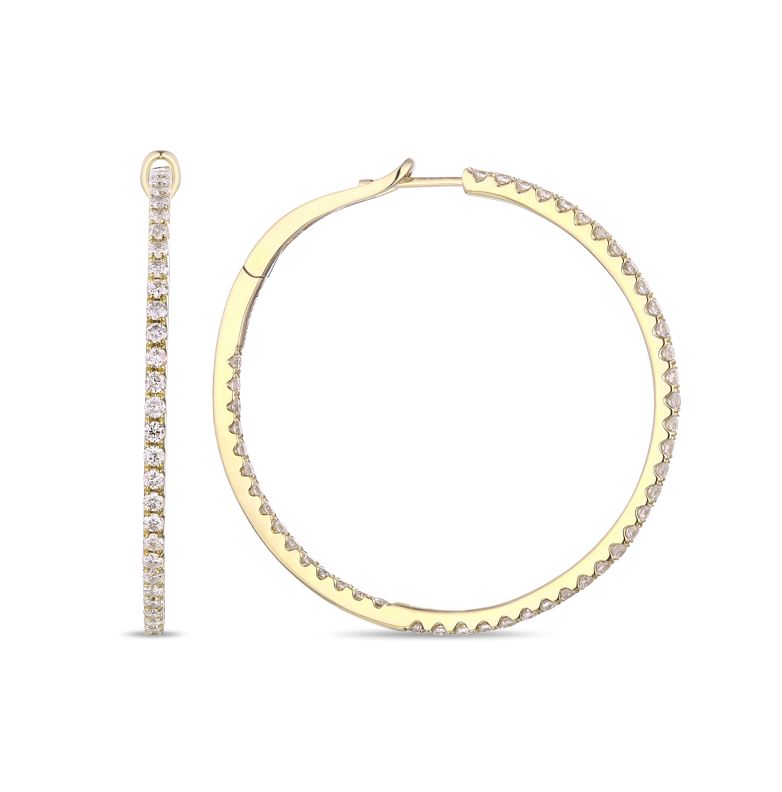 Large Round Inside Outside Diamond Pave Hoop, 1.83ctw