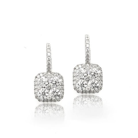 Cushion Illusion Halo Dangle Pave Diamond Earrings