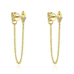 Yellow & Diamond Chain Dangle Earrings