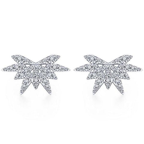 White & Diamond Firework Stud Earrings