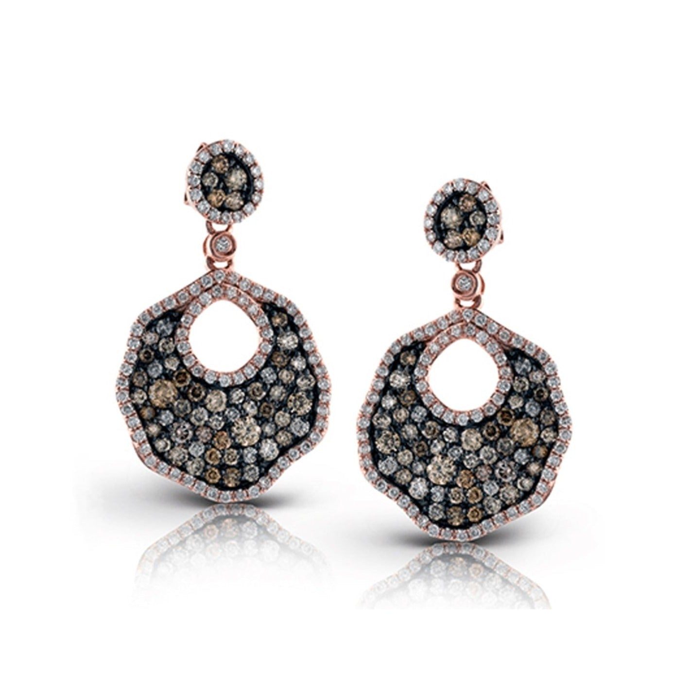 Champagne & White Diamond Open Pave Dangle Earrings