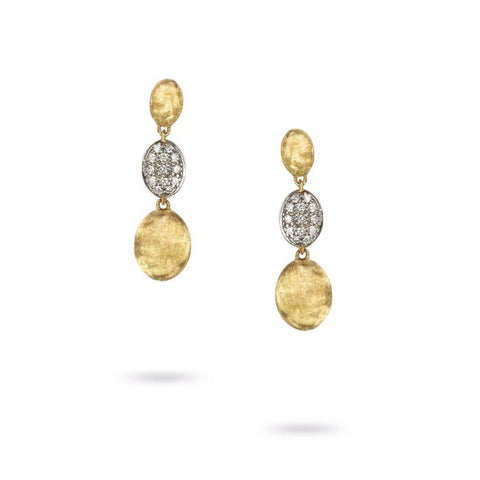 Siviglia Yellow Gold & Diamond Pave Triple Drop Earrings