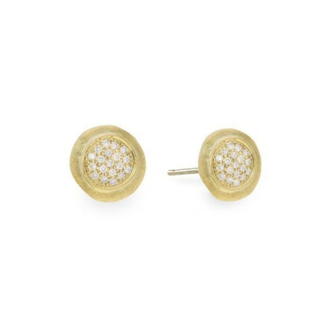 Jaipur Yellow Gold & Diamond Pave Stud Earrings