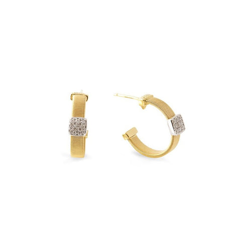 Masai Yellow & White Gold Pave Station Diamond Hoop Earrings
