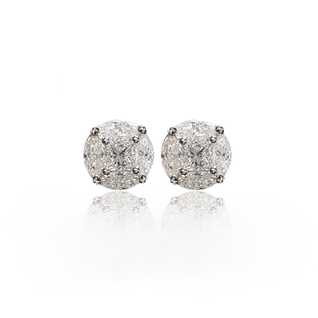 18K Round Illusion Cluster Diamond Stud Earrings, 1.50ctw